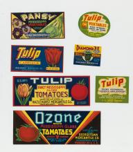DESIGNERS UNKNOWN. [VEGETABLE CRATE LABELS.] Hundreds of labels. Circa 1920. Sizes vary.