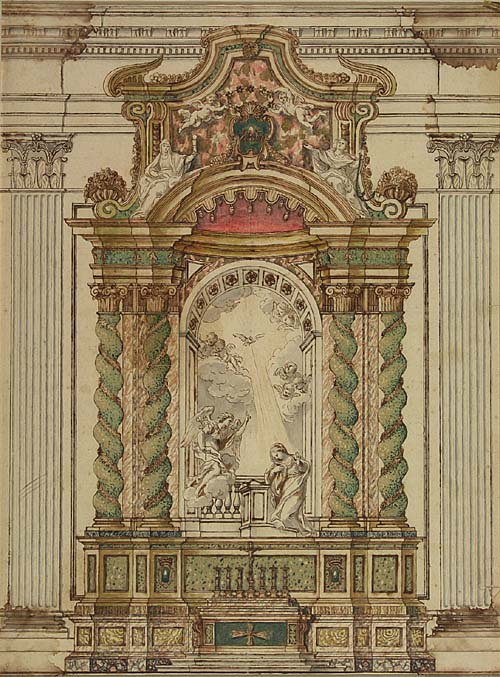 FILIPPO DELLA VALLE (CIRCLE OF) (Florence 1697-1768 Rome) Study for the Annunciation Altar, S. Ignazio, Rome. Pen and brown ink and watercolor on cream laid paper. 510x385 mm; 20x15 inches. The letters L A watermark.