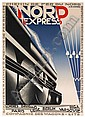 A. M. CASSANDRE (ADOLPHE MOURON, 1901-1968). NORD EXPRESS. 1927. 41x29 inches, 105x75 cm. Hachard & Cie., Paris., Adolphe Mouron Cassandre, Click for value
