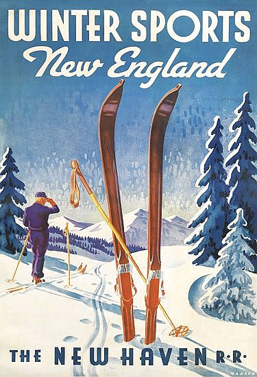 SASCHA MAURER (1897-1961). WINTER SPORTS / NEW ENGLAND / THE NEW HAVEN R.R. Circa 1937. 41x27 inches, 105x70 cm.