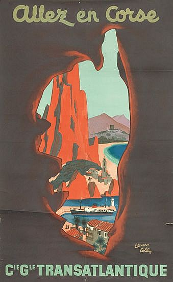 EDOUARD COLLIN (1906-1983). ALLEZ EN CORSE. 25x15 inches, 64x40 cm. Editions Transatlantique, France.
