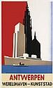 JOZEF WINTERS (1911-1981). ANTWERPEN / WERELDHAVEN - KUNSTSTAD. Circa 1935. 39x24 inches, 99x61 cm.