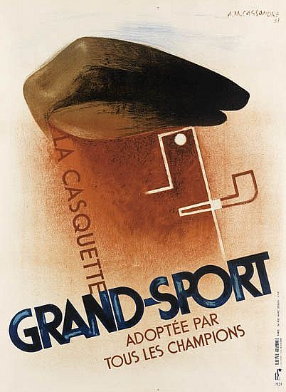 ADOLPHE MOURON CASSANDRE (1901-1968). GRAND - SPORT. 1931. 31x23 inches, 96x58 cm. Alliance Graphique, Paris.