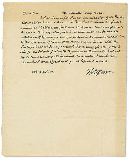 JEFFERSON, THOMAS. Autograph Letter Signed,