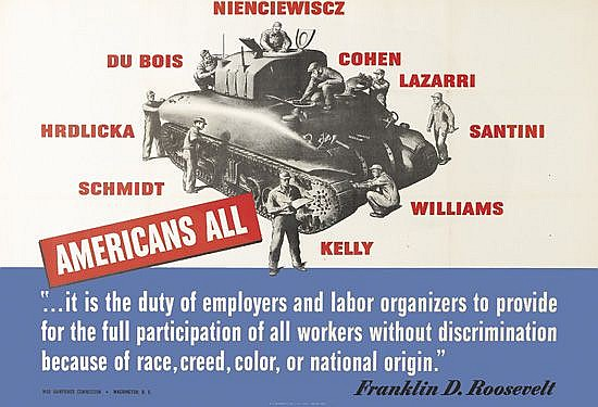 DESIGNER UNKNOWN. AMERICANS ALL. 1942. 40x27 inches, 101x69 cm. U.S. Government Printing Office, Washington, D.C.