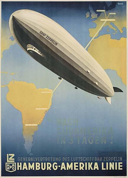OTTOMAR ANTON (1895-1976) NACH SUDAMERIKA IN 3 TAGEN! / HAMBURG-AMERIKA LINIE. 1936. 32x23 inches. Muhlmeister & Johler, Hamburg.