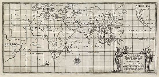 BOUTTATS, GASPAR. Noua Delineatio Geographica generalis Apostolicarum peregrinationum S Francisci Xauerii Indiarum & Japoniae [etc.].