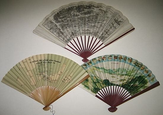 (FAN MAPS.) Group of 5 Japanese paper fans decorated with maps.
