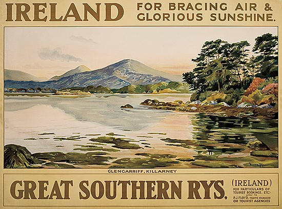 WALTER TILL (DATES UNKNOWN). IRELAND / GREAT SOUTHERN RYS. Circa 1920. 29x39 inches, 73x99 cm.