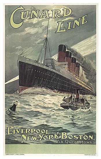 ODIN ROSENVINGE (1880-1957). CUNARD LINE / [LUSITANIA.] Circa 1907. 39x24 inches, 101x63 cm. Turner & Dunnett, Lithos., Liverpool.
