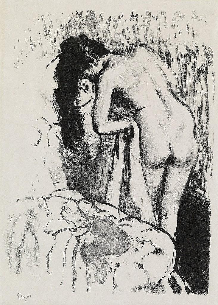 EDGAR DEGAS Femme nue debout à sa toilette.
