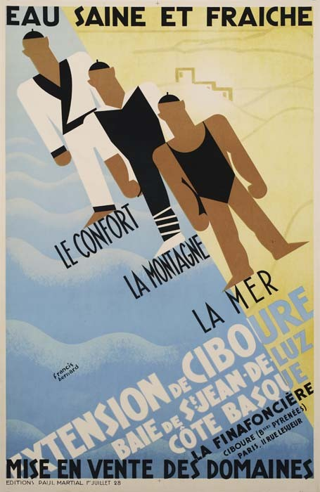 POSTER - FRANCIS BERNARD EXTENSION DE CIBOURE. 1928. 47x31 inches. Paul Martial.
