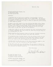THURBER, JAMES. Typed Document Signed,