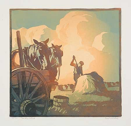 ERNEST W. WATSON Group of 9 color woodcuts.