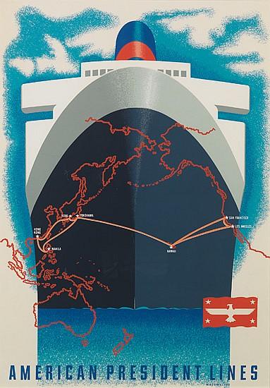 LOUIS MACOUILLARD (1913-1987). AMERICAN PRESIDENT LINES. 40x27 inches, 101x70 cm. Velvetone.