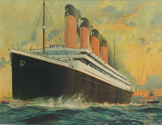 MONTAGUE BIRREL BLACK (1884-?). [WHITE STAR LINE / OLYMPIC & TITANIC.] 29x38 inches, 75x98 cm.