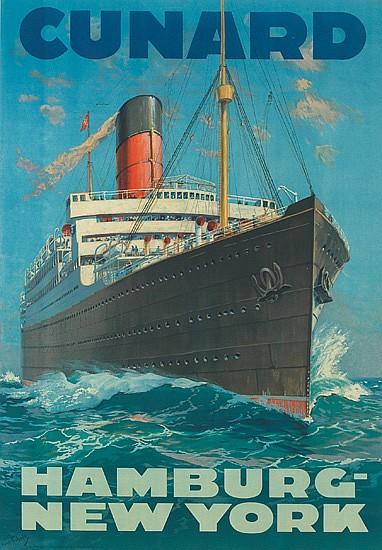 HANS BOHRDT (1857-1945). CUNARD / HAMBURG-NEW YORK. 38x26 inches, 96x67 cm. Muhlmeister & Johler, Hamberg.
