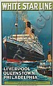 MONTAGUE BIRREL BLACK (1884-?). WHITE STAR LINE / LIVERPOOL QUEENSTOWN PHILADELPHIA [LAURENTIC.] Circa 1934. 39x24 inches, 101x63 cm. T