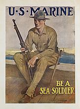CLARENCE F. UNDERWOOD (1871-1929). U.S. MARINE / BE A SEA SOLDIER. Circa 1914. 38x28 inches, 96x71 cm.