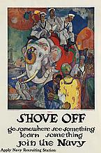 JAMES H. DAUGHERTY (1889-1974). SHOVE OFF / JOIN THE NAVY. Circa 1918. 41x27 inches, 104x69 cm. Navy Recruiting Bureau, New York.