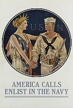 JOSEPH C. LEYENDECKER (1874-1951). U.S.N. / AMERICA CALLS / ENLIST IN THE NAVY. 1917. 40x27 inches, 103x70 cm. U.S. Navy Publicity Bure