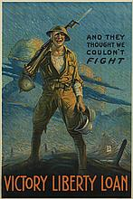 VARIOUS ARTISTS. [WORLD WAR I.] Group of 3 posters. 1917-1918. Each approximately 29x20 inches, 75x48 cm.