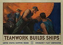WILLIAM DODGE STEVENS (1870-1942). TEAMWORK BUILDS SHIPS. Circa 1918. 36x50 inches, 91x127 cm. Forbes, Boston.