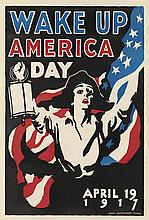 JAMES MONTGOMERY FLAGG (1870-1960). WAKE UP AMERICA DAY. 1917. 41x27 inches, 104x70 cm.