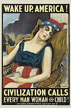 JAMES MONTGOMERY FLAGG (1870-1960). WAKE UP, AMERICA! 1917. 41x28 inches, 105x71 cm. The Hegeman Print, New York.