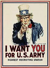 JAMES MONTGOMERY FLAGG (1870-1960). I WANT YOU FOR U.S. ARMY. 1917. 39x29 inches, 101x75 cm. Leslie-Judge Co., New York.