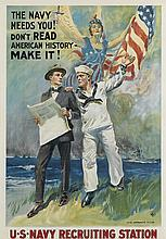 JAMES MONTGOMERY FLAGG (1870-1960). THE NAVY NEEDS YOU! DON'T READ AMERICAN HISTORY - MAKE IT! 1917. 40x28 inches, 101x71 cm. H.C. Mine