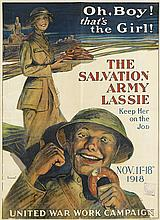 GEORGE MATHER RICHARDS (1880-1958). THE SALVATION ARMY LASSIE. 1918. 39x28 inches, 99x73 cm. Sackett & Wilhelms Corporation, New York.