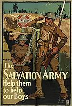 SCOTT ETHRIDGE (DATES UNKNOWN). THE SALVATION ARMY / HELP THEM TO HELP OUR BOYS. Circa 1918. 40x27x101 inches, 101x69 cm. Illinois Lith