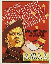 IAN MCCOWAN (DATES UNKNOWN). JOIN THE WOMENS ARMY / A.W.A.S. Circa 1940. 23x18 inches, 60x47 cm. Second Australian Army Survey Mobile R