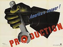 JEAN CARLU (1900-1997). AMERICA'S ANSWER! / PRODUCTION. 1942. 29x39 inches, 75x101 cm. U.S. Government Printing Office, Washington, D.C