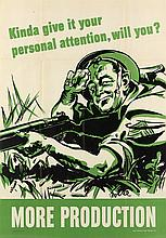 VARIOUS ARTISTS. [WAR PRODUCTION BOARD.] Group of 3 posters. 1942. Each 40x28 inches, 101x71 cm.