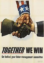 COURTNEY ALLEN (1896-1969). TOGETHER WE WIN. 1943. 39x28 inches, 11x71 cm. U.S. Government Printing office, [Washington, D.C.]