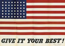 CHARLES COINER (1898-1989). GIVE IT YOUR BEST! 1942. 20x28 inches, 50x72 cm. U.S. Government Printing Office, Washington, D.C.