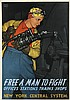 LESLIE RAGAN (1897-1972). FREE A MAN TO FIGHT. 1943. 27x19 inches, 70x50 cm. Brett Lithographing Company, [New York.], Leslie Darrell Ragan, $375
