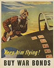 GEORGES SCHREIBER (1904-1977). KEEP HIM FLYING! / BUY WAR BONDS. 1943. 27x22 inches, 70x56 cm. U.S. Government Printing Office, [Washin