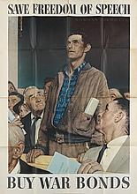 NORMAN ROCKWELL (1894-1978). [THE FOUR FREEDOMS.] Group of 4 posters. 1943. Each 56x39 inches, 142x100 cm. U.S. Government Printing Off