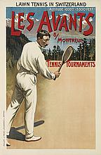 DESIGNER UNKNOWN. LES AVANTS / LAWN TENNIS IN SWITZERLAND. Circa 1904. 40x26 inches, 101x67 cm. Muller & Trub, Lausanne.