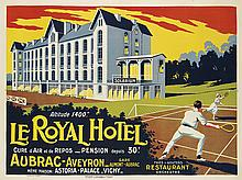 E. SERRE (DATES UNKNOWN). LE ROYAL HOTEL. Circa 1935. 46x62 inches, 106x157 cm. Courbet, Paris.