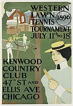 EDWARD PENFIELD (1866-1925). WESTERN LAWN TENNIS TOURNAMENT. 1896. 28x19 inches, 71x49 cm.