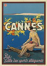 SEM (GEORGES GOURSAT, 1863-1934). CANNES. 1930. 40x28 inches, 101x71 cm. Draeger, [Paris.]