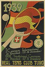 CHACÓN (DATES UNKNOWN). I CONCURSO INTERNACIONAL DE NAVIDAD / REAL TENIS CLUB TUR.Ó 1939. 25x17 inches, 64x43 cm. I.G. Cantin, Barcelon