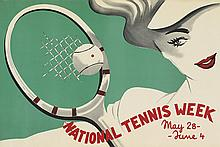 DESIGNER UNKNOWN. NATIONAL TENNIS WEEK. 23x35 inches, 60x90 cm.