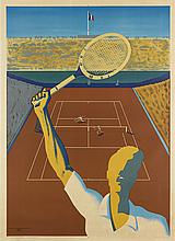 RAYMOND JACQUES TEMPLIER (1891-1968). [FRENCH TENNIS TOURNAMENT.] 1957. 62x45 inches, 158x115 cm. René Tanton, Paris.