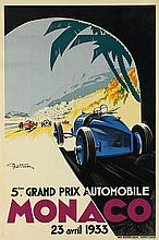 GEO HAM (GEORGES HAMEL, 1900-1972). MONACO / 5ÈME GRAND PRIX AUTOMOBILE. 1933. 46x30 inches, 117x78 cm. Monegasque, Monte-Carlo.