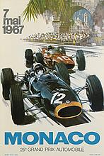 MICHAEL TURNER (1934- ). MONACO / 25 GRAND PRIX AUTOMOBILE. 1967. 23x16 inches, 60x40 cm. J. Ramel, Nice.